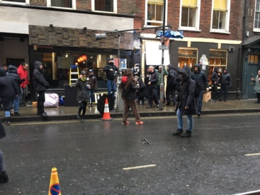 Filming on Denmark Street
